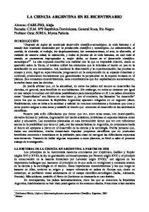 LA CIENCIA ARGENTINA EN EL BICENTENARIO