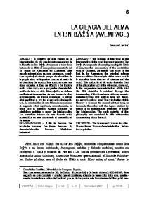 LA CIENCIA DEL ALMA EN IBN BAYYA (AVEMPACE)