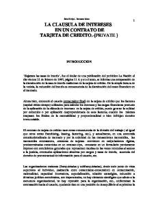 LA CLAUSULA DE INTERESES EN UN CONTRATO DE TARJETA DE CREDITO.-{PRIVATE }