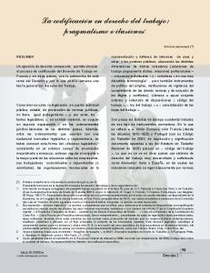 La codificación en derecho del trabajo: pragmatismo e ilusiones 1