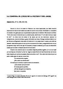 LA COMEDIA: EL JUEGO DE LA FICCION Y DEL AMOR