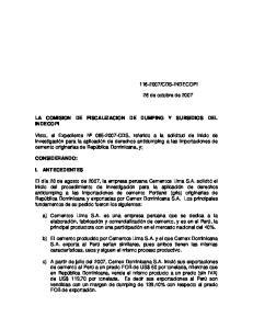 LA COMISION DE FISCALIZACION DE DUMPING Y SUBSIDIOS DEL INDECOPI