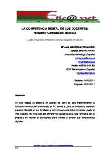 LA COMPETENCIA DIGITAL DE LOS DOCENTES:
