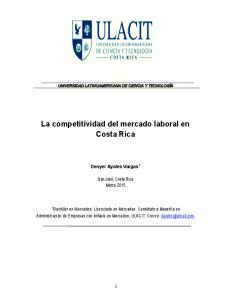 La competitividad del mercado laboral en Costa Rica