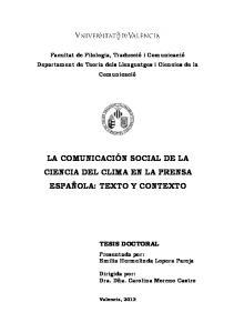LA COMUNICACIÓN SOCIAL DE LA CIENCIA DEL CLIMA EN LA PRENSA ESPAÑOLA: TEXTO Y CONTEXTO