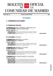 LA COMUNIDAD DE MADRID SUMARIO