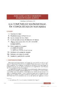 LA COMUNIDAD MATRIMONIAL DE CONQUISTAS EN NAVARRA
