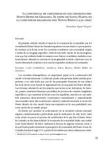 La conciencia de comunidad en los cronistas del Nuevo Reino de Granada. El papel de Santa Marta en la comunidad imaginada del Nuevo Reino ( )