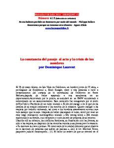 La constancia del pasaje al acto y la crisis de los nombres por Dominique Laurent