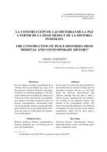 LA CONSTRUCCIÓN DE LAS HISTORIAS DE LA PAZ A PARTIR DE LA EDAD MEDIA Y DE LA HISTORIA INMEDIATA