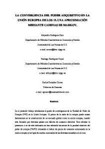 LA CONVERGENCIA DEL PODER ADQUISITIVO EN LA UNIÓN EUROPEA DE LOS 15. UNA APROXIMACIÓN MEDIANTE CADENAS DE MARKOV