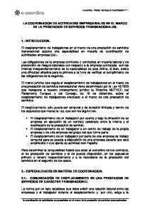 LA COORDINACION DE ACTIVIDADES EMPRESARIALES EN EL MARCO DE LA PRESTACION DE SERVICIOS TRANSNACIONALES