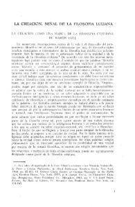 LA CREACION, SENAL DE LA FILOSOFIA LULIANA