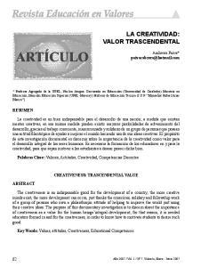 LA CREATIVIDAD: VALOR TRASCENDENTAL