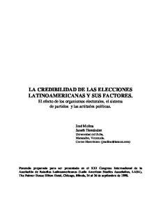 LA CREDIBILIDAD DE LAS ELECCIONES LATINOAMERICANAS Y SUS FACTORES