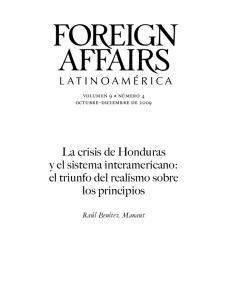 La crisis de Honduras y el sistema interamericano: el triunfo del realismo sobre los principios