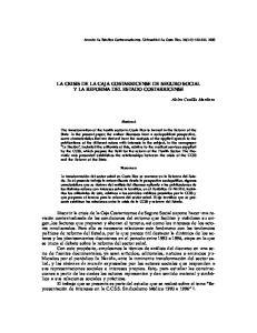 LA CRISIS DE LA CAJA COSTARRICENSE DE SEGURO SOCIAL Y LA REFORMA DEL ESTADO COSTARRICENSE