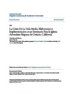 La Crisis De La Vida Media: Elaboracion e Implementacion ce un Seminario Para la Iglesia Adventista Hispana de Ontario, California