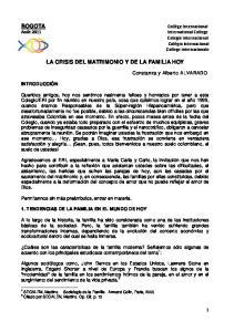 LA CRISIS DEL MATRIMONIO Y DE LA FAMILIA HOY