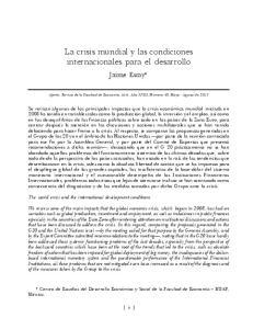 La crisis mundial y las condiciones internacionales para el desarrollo