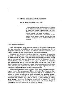 LA CRISIS RELIGIOSA DE UNAMUNO