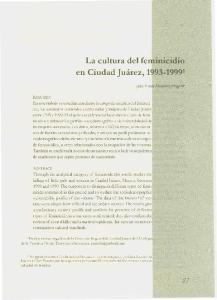 La cultura del feminicidio en Ciudad Juarez,