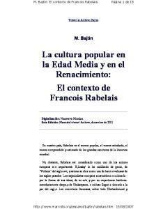La cultura popular en la Edad Media y en el Renacimiento: El contexto de Francois Rabelais