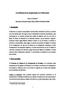 La defensa de la competencia en el Mercosur