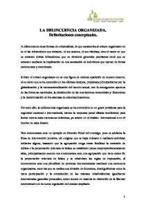 LA DELINCUENCIA ORGANIZADA. Delimitaciones conceptuales