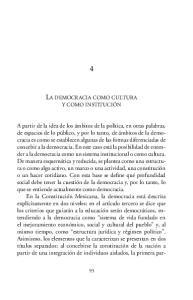 LA DEMOCRACIA COMO CULTURA Y COMO INSTITUCIÓN