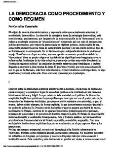 LA DEMOCRACIA COMO PROCEDIMIENTO Y COMO REGIMEN