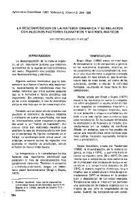 LA DESCOMPOSICION DE LA MATERIA ORGANICA y SU RELACION CON ALGUNOS FACTORES CLlMATICOS y MICROCLlMATICOS