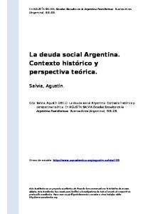 La deuda social Argentina. Contexto histórico y perspectiva teórica