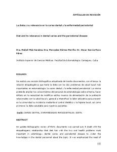 La dieta y su relevancia en la caries dental y la enfermedad periodontal. Diet and its relevance in dental caries and the periodontal disease
