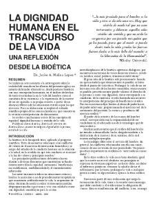 LA DIGNIDAD HUMANA EN EL TRANSCURSO DE LA VIDA
