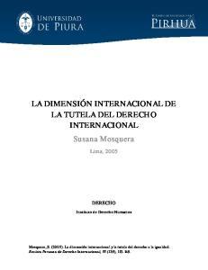 LA DIMENSIÓN INTERNACIONAL DE LA TUTELA DEL DERECHO INTERNACIONAL