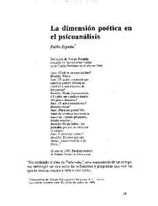 La dimension poetica en el psicoanalisis