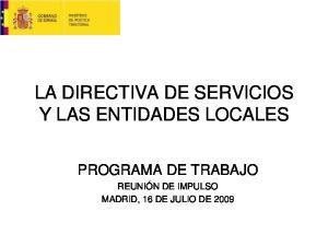 LA DIRECTIVA DE SERVICIOS Y LAS ENTIDADES LOCALES