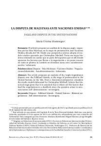LA DISPUTA DE MALVINAS ANTE NACIONES UNIDAS* **
