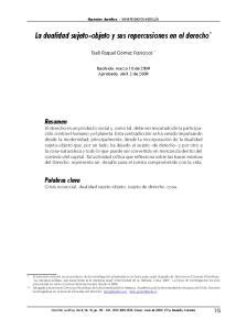 La dualidad sujeto-objeto y sus repercusiones en el derecho *