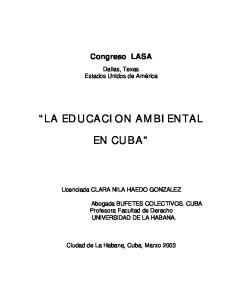 LA EDUCACION AMBIENTAL EN CUBA