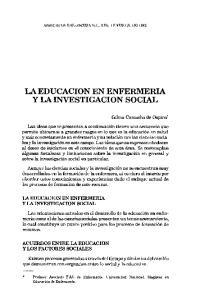 LA EDUCACION EN ENFERMERIA Y LA INVESTIGACION SOCIAL