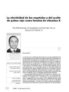 La efectividad de los vegetales y del aceite de palma rojo como fuentes de vitamina A