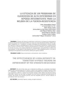 LA EFICACIA DE UN PROGRAMA DE EJERCICIOS DE ALTA INTENSIDAD EN HIPOXIA INTERMITENTE PARA LA MEJORA DE LA FUERZA-RESISTENCIA
