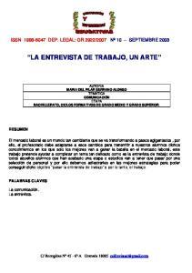 LA ENTREVISTA DE TRABAJO, UN ARTE