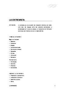 LA ENTREVISTA TIPOS DE ENTREVISTA: