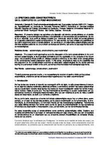 LA EPISTEMOLOGÍA CONSTRUCTIVISTA EN EL CONTEXTO DE LA POST-MODERNIDAD
