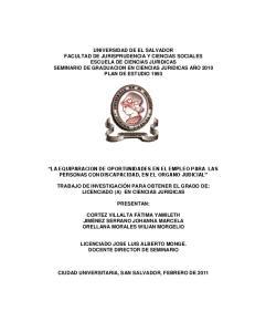 LA EQUIPARACION DE OPORTUNIDADES EN EL EMPLEO PARA LAS PERSONAS CON DISCAPACIDAD, EN EL ORGANO JUDICIAL