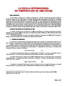 LA ESCALA INTERNACIONAL DE TEMPERATURA DE 1990 (ITS-90)