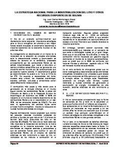 LA ESTRATEGIA NACIONAL PARA LA INDUSTRIALIZACION DEL LITIO Y OTROS RECURSOS EVAPORITICOS DE BOLIVIA
